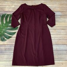 Talbots Ponte Knit Sheath Dress Size 10 Plum Purple 3/4 Sleeve Key Hole Neck