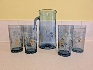 VINTAGE BLUE GLASS JUG WITH SIX MATCHING GLASSES