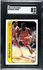 1986 Fleer Sticker Basketball #8 Michael Jordan RC Rookie HOF SGC 8 NM-MINT