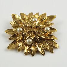 Yves Saint Laurent YSL signed Pin Brooch vintage carved floral goldtone pearl
