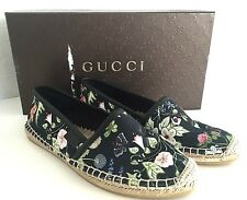 $350 Gucci Pilar Espadrille Flat Slippers Canvas Flora Knight Mini Nero 35 US 5