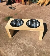 Wooden Dog Bowl Stand - 25cm - Natural Finish