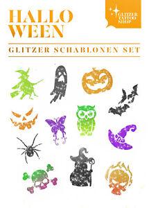 Schablonen Set 24 tlg Kinder Glitzer Tattoo Halloween Glitzer Tattoo Party Set