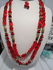 Two Layers Multi Red Lucite Bead Gold Tone Bead Long Necklace Earring Set