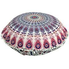 Bohemian Mandala Round Printed Floor Cushion Cover Peacock Feather Cotton 32x32