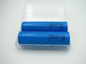 2x Samsung 50E 21700 5000mAh 9.8A flashlight 3.7V rechargeable w/ case tesla