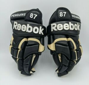 NEW SIDNEY CROSBY PRO STOCK GAME MODEL REEBOK 10K NHL PENGUINS GLOVES 1000 GAMES