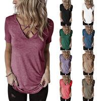 Summer Womens Short Sleeve Criss Cross V Neck Solid T Shirt Casual Loose Tops US