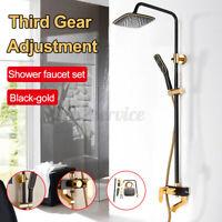 Bathroom Rainfall Shower Head Wall Mount Hand Shower Mixer Faucet Tap Set