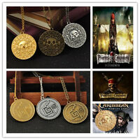 Pirates of the Caribbean Aztec Cursed Gold Skull Coin Medallion Necklace Pendant