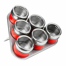 Premier Housewares Magnetic Tray With 6 Spice Jars Red