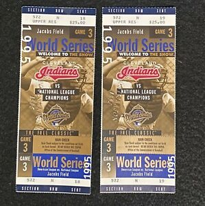Two Cleveland Indians 1995 World Series Game 3 Ticket Stubs + BONUS ITEMS!