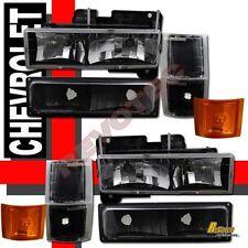 94-98 Chevy CK Silverado Tahoe Suburban Black Headlights Bumper Corner Lights