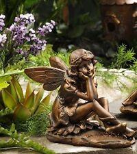 Sitting Garden Fairy Statue - Copper Look Polystone New