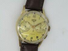 Vintage Heuer Turler Valjoux 23 14K Solid Gold Chronograph