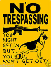 "GERMAN SHEPHERD DOG SIGN, 9""x12"" ALUMINUM,Guard Dog Sign,Security,Gate,H3388GSCY"