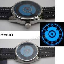 Uhr mit Leuchtzifferblatt und ungewöhnlicher Zeitanzeige: UNISEX; #KWT11B3 BLAU