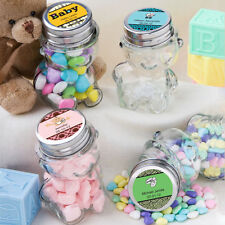 75 Personalized Teddy Bear Candy Jar Glass Wedding Baby Shower Event Favors Lot