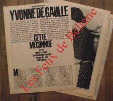 Gros article Yvonne de Gaulle ,photos  ,1980 , clipping