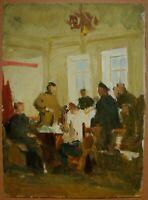 Russian Ukrainian Soviet Oil Painting genre meeting realism sketch 1950s