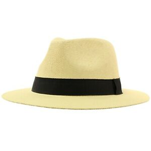 "Unisex Summer Light Panama Derby Fedora Wide 2-3/8"" Brim Hat Adjustable"