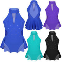 Girls Sparkly Dance Dress Kids Rhinestone Leotards Ballet Latin Stage Costume