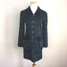 VTG 90s CLUELESS Tartan Plaid Mini Skirt + Jacket Navy Blue Green Suit Set *5/6*