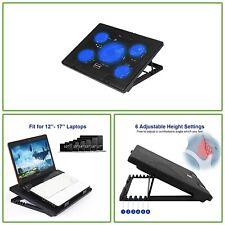 "Chill Mat 2 Port USB Hub 5 Fan 17"" Laptop Cooling Pad LED Light Adjustable Mount"