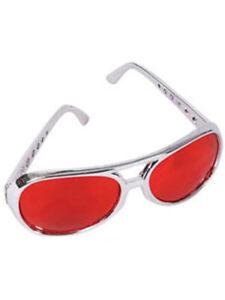 Red Lens Silver Frame Elvis Aviator Rock Star Glasses