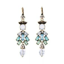 Dangling green & blue marquise crystal leaf vintage gold statement earrings