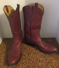 Stallion Custom Hand Made Red Brown Leather Mens Cowboy Boots 8.5 DM