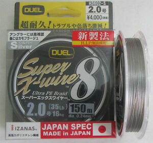 DUEL SUPER X-WIRE 8 Braid 150 m 35lb (16 kg) Silver color