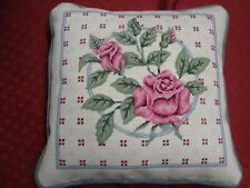 """New/Old Handmade Completed Needlepoint Pink Roses 16"""" Pillow Finished Gray"""