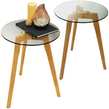 2 PACK - Wood Tripod Leg and Round Glass End / Side Table - Natural STWT3150x2