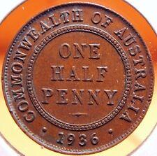 Australia 1/2 Penny 1936 UNC, Light Natural Patina. Nice Half Cent Coin!