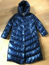 VIOLANTI Full Length Hooded Goose Down Coat in Metallic Blue. Size 42(US 6)