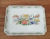 Gorgeous Vintage OMC Japan Peacock Rectangle Porcelain Tray Candy Dish Asian