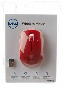 Latest Dell WM126 Wireless Optical Mouse Red Perfect for Computer Laptop Windows