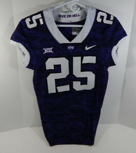 2015-18 Texas Christian TCU Horn Frogs #25 Purple Frogskin Game Issued Jersey 98