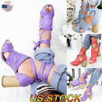 US Summer Women Party Sandals Ladies High Block Heels Lace Up Peep Toe Shoes New