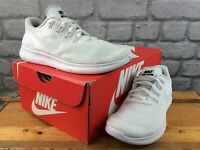 NIKE LADIES UK 4 EU 37.5 FREE RN TRIPLE WHITE MESH RUNNING TRAINERS M