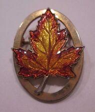 Pin Gold Tone Lapel Pin Vintage Enamel Maple Leaf Brooch