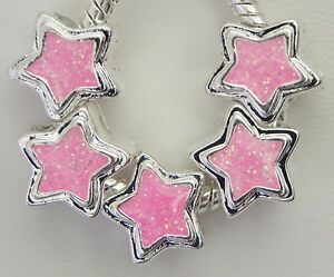 5 Pink Sparkly Star Glitter Spacer Charms European Style 11 x 11 & 5mm Hole S115