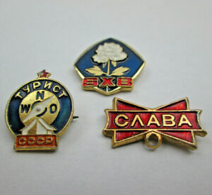 3 Foreign Lapel or Hat Pins 2 Russian TYPИCT WNO CCCP & CΛABA - 1 unknown SXB