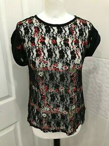 Atmosphere Black and Red Floral Top 6