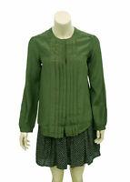 4402 New Isabel Marant Sanford Pintuck Buttondown Green Silk Blouse Top S 38