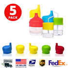 5X Silicone Sippy Cup Lids Spill-Proof Stretchable Lids Soft Spout BPA-Free