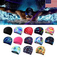 US Men Women Summer Long Hair Silicone Waterproof Swimming Cap Pool Swim Hat OCC