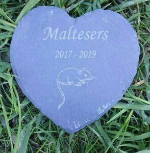Personalised Engraved Slate Stone Heart Pet Memorial Grave Plaque Rat Gerbil