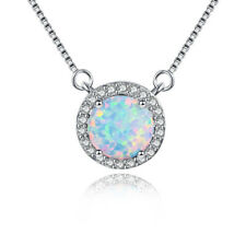 Classic Round 8x8mm White Fire Opal Zirconia 925 Silver Pendants Chain Necklaces
